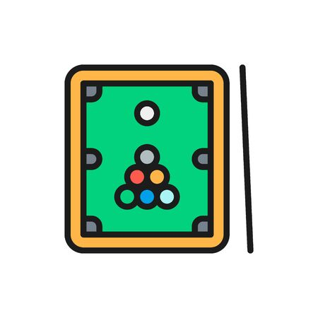 Billiards, table with cue and balls flat color line icon. Çizim