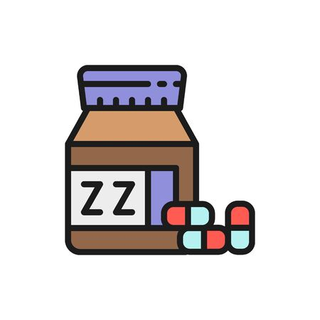 Jar with sleeping pills flat color icon.