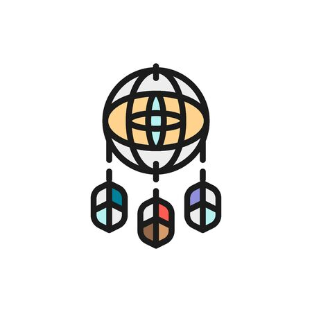 Dreamcatcher flat color icon. Isolated on white background Illustration