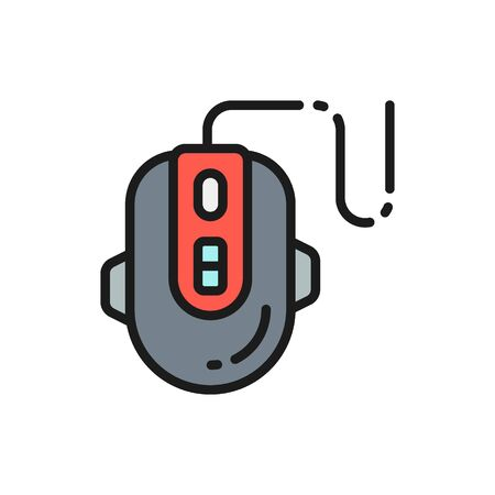 Computer gaming mouse flat color line icon. 向量圖像