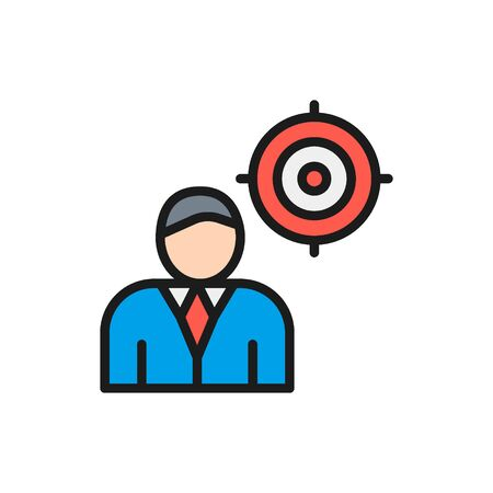 Vector chief with target, president, leader flat color line icon. Symbol and sign illustration design. Isolated on white background