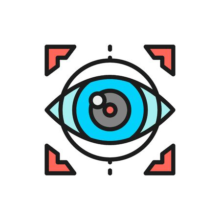 Vector eye surgery, lens replacement, laser vision correction flat color line icon. Symbol and sign illustration design. Isolated on white background