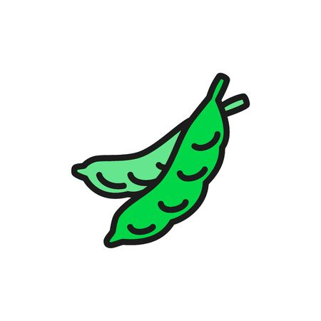 Young peas, vegetable flat color icon. Isolated on white background Illustration