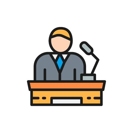 Speaker on tribune, project presentation, president, leader flat color line icon Ilustrace