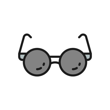 Glasses for blind flat color line icon.
