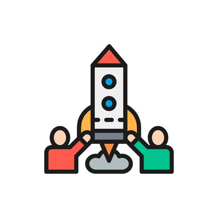 Team of people launches rocket, startup flat color line icon. Ilustração