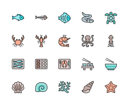 Set of Fish, Aquatic Animal and Seafood Flat Color Line Icons. Flounder, Eel, Turtle, Crab, Crayfish, Shrimp, Squid, Sprats, Sushi Dish, Seashell, Octopus, Seaweed and more. Pack of 48x48 Pixel Icons Foto de archivo - 134537498