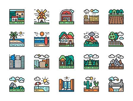 Set of Landscape and Megapolis Flat Color Line Icons. Bridge, Desert and more. Illustration