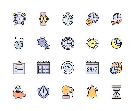 Conjunto de iconos de línea de color de gestión del tiempo. Calendario, horario, lista de verificación y más. Ilustración de vector