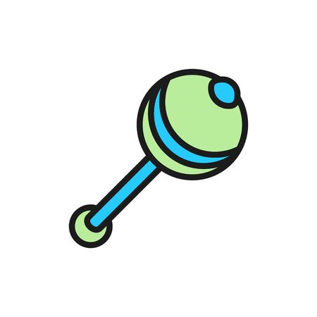 Vector rattle, maraca flat color icon. Symbol and sign illustration design. Isolated on white background Ilustrace