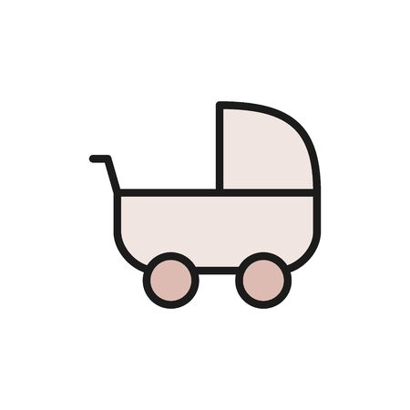 Vector baby stroller, carriage flat color icon. Symbol and sign illustration design. Isolated on white background Illusztráció
