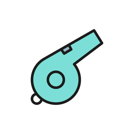 Vector whistle flat color icon. Symbol and sign illustration design. Isolated on white background