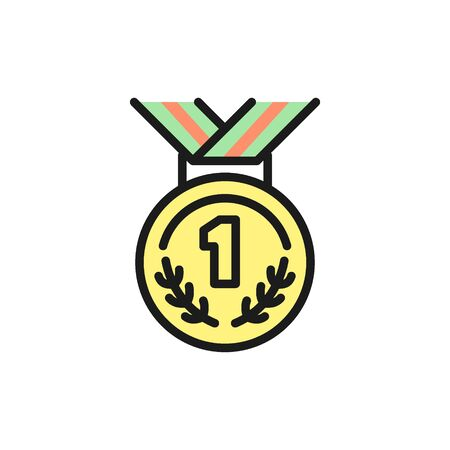 Vector medal for first place, award flat color icon. Symbol and sign illustration design. Isolated on white background