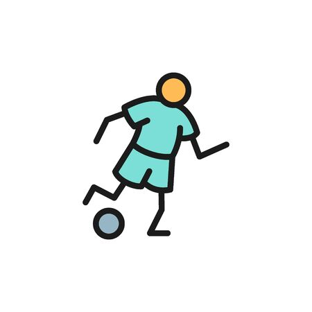 Vector soccer player flat color icon. Symbol and sign illustration design. Isolated on white background Banque d'images - 134835400