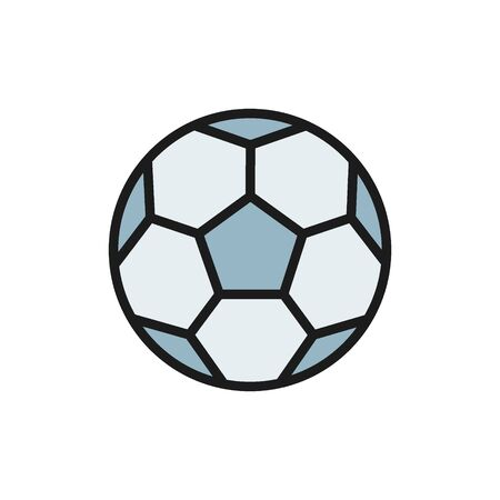 Vector soccer ball flat color icon. Symbol and sign illustration design. Isolated on white background Foto de archivo - 134835401