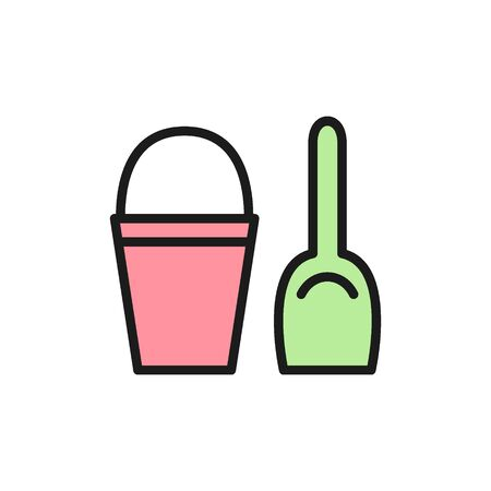 Vector childrens bucket with spatula flat color icon. Symbol and sign illustration design. Isolated on white background