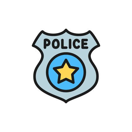 Vector police badge flat color icon. Symbol and sign illustration design. Isolated on white background Illusztráció
