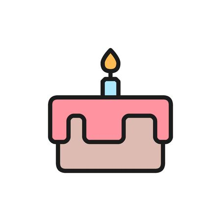 Vector first birthday cake flat color icon. Symbol and sign illustration design. Isolated on white background