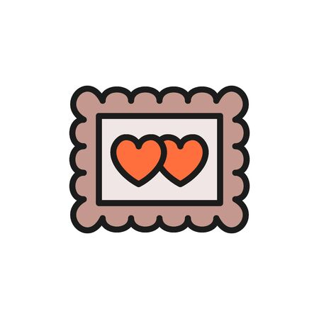 Vector photo frame with two hearts, valentine day flat color icon. Symbol and sign illustration design. Isolated on white background