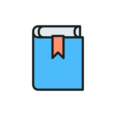 Book, criminal administrative code, constitution flat color icon.
