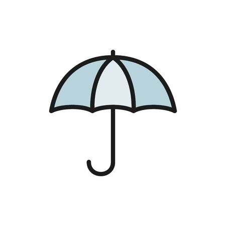 Vector umbrella flat color icon. Isolated on white background Illustration