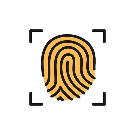 Fingerprint verification flat color icon. Isolated on white background