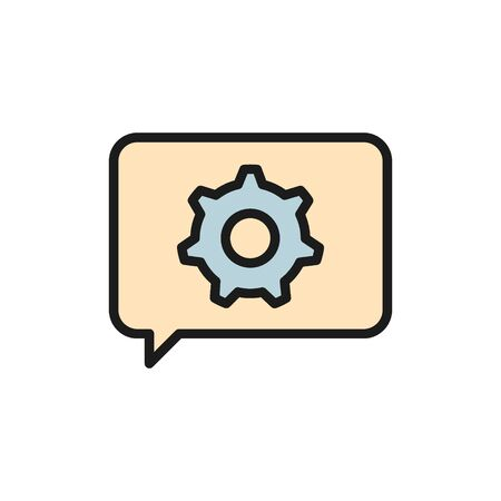 Vector message with gear wheel, faq, technical assistance flat color icon. Symbol and sign illustration design. Isolated on white background Vettoriali