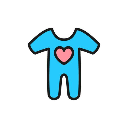 Vector cute baby creepers, children wear flat color icon. Symbol and sign illustration design. Isolated on white background Illusztráció