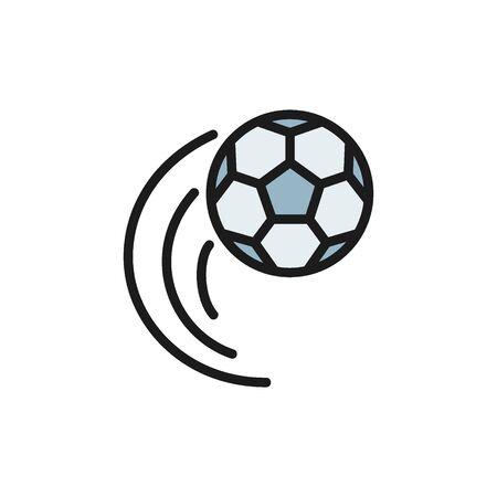 Vector flying soccer ball flat color icon. Foto de archivo - 134835522