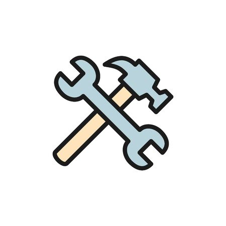 Vector hammer with wrench flat color icon.