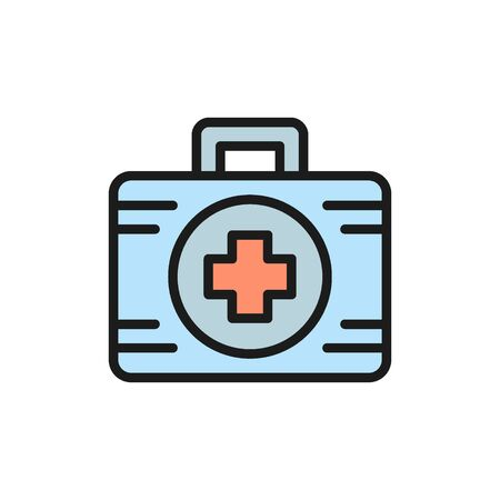 First aid kit medicine flat color icon. Stock Vector - 134835534