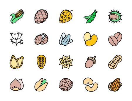Set of Nuts, Seeds and Vegetables Flat Color Icons. Corn Cob, Hop Cone, Peas, Chestnut, Dill, Coconut, Walnut and more. Pack of 48x48 Pixel Icons Reklamní fotografie - 134676405
