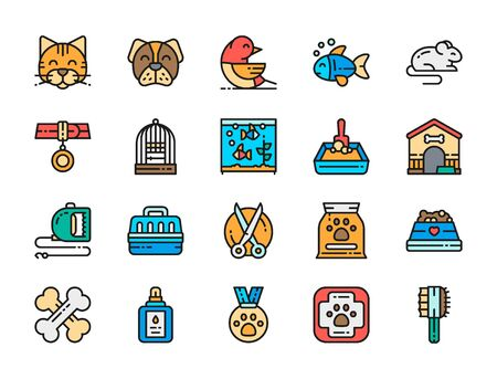 Set of Vet Clinic Flat Color Icons. Cat, Dog, Bird, Parrot, Fish, Mouse and more