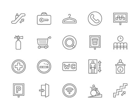 Set of Public Navigation Line Icons. Hanger, Coffee, Toilet, Elevator and more. Ilustração