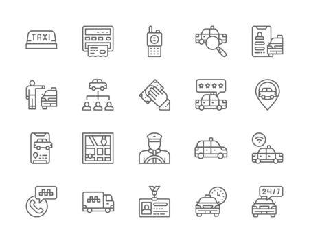 Conjunto de iconos de línea de taxi. Camión, reparto, taxista, taxi, tarjeta de identificación y más. Ilustración de vector