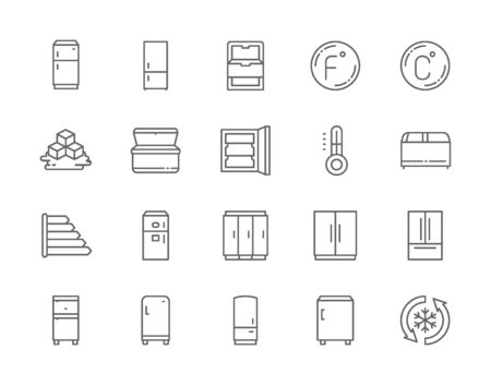 Set of Fridge Line Icons. Thermometer, Freezer, Refrigerator, Ice Cubes and more Stock Illustratie