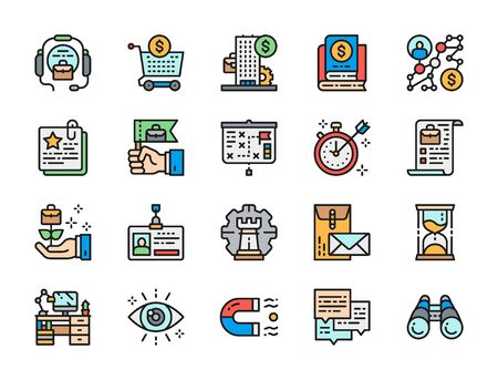 Set of Business Strategy Flat Color Icons. Call Center, Bank, Algorithm and more