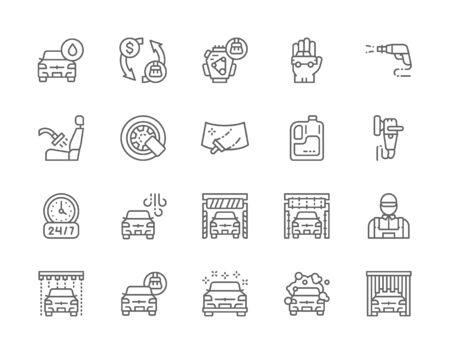 Set of Car Wash Line Icons. Polishing Machine, Wheel Lock, Windshield and more. Ilustração Vetorial