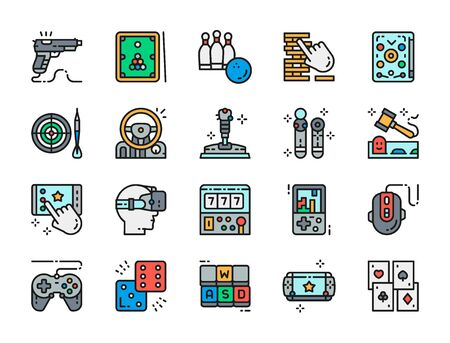 Set of Game Flat Color Icons. Billiards, Bowling, Pinball, Joystick and more.