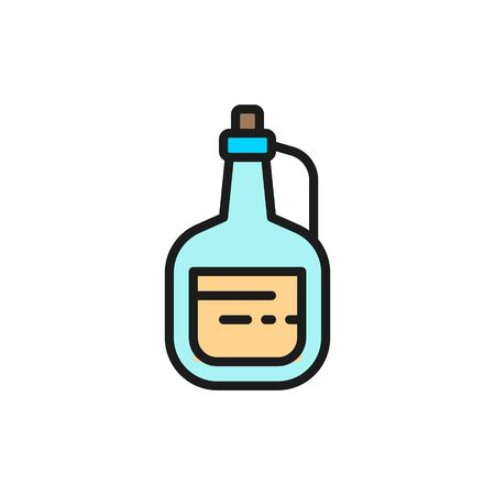 Vector olive oil in glass bottle flat color line icon. Symbol and sign illustration design. Isolated on white background