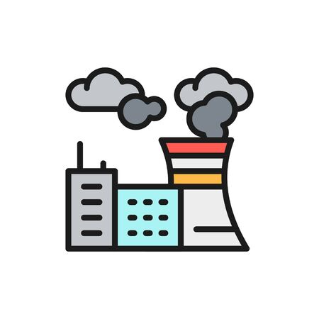 Vector air pollution of factory, plant carbon dioxide emissions flat color line icon. Symbol and sign illustration design. Isolated on white background