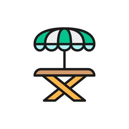 Vector street picnic table with umbrella flat color line icon. Symbol and sign illustration design. Isolated on white background