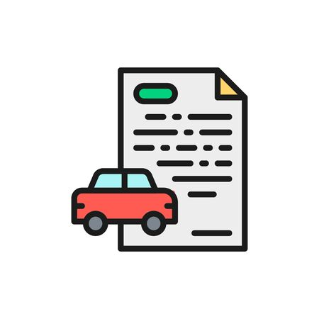 Vector car loan, credit for automobile flat color line icon. Symbol and sign illustration design. Isolated on white background