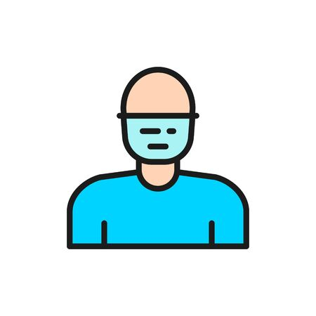 Man worker in protective mask flat color line icon.