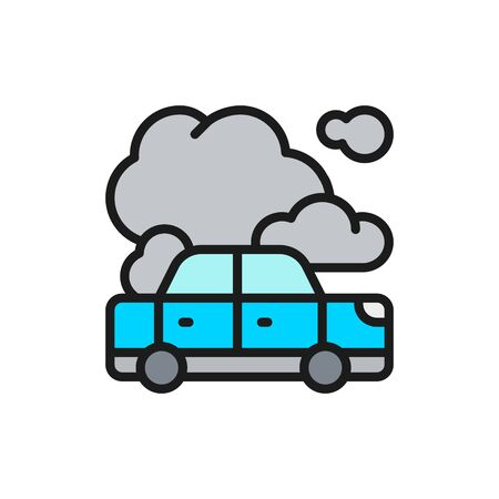 Car with exhaust emissions, car in fire flat color line icon.