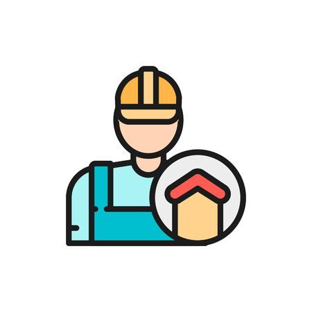 Vector repairman, foreman, builder, architect flat color line icon.