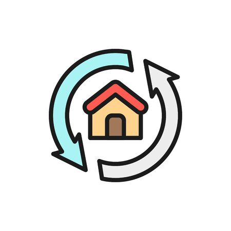 House remodeling, redevelopment, repair home flat color line icon. Illustration
