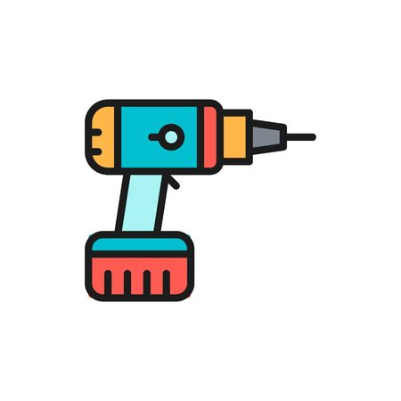 Vector drill, drilling machine, building tools flat color line icon. Symbol and sign illustration design. Isolated on white background Ilustrace