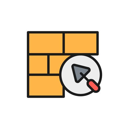 Brick wall with putty knife, repair bricklaying, construction color line icon.