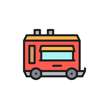 Vector mobile kitchen food trailer flat color line icon.